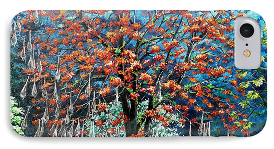 Tree Painting Mountain Painting Floral Painting Caribbean Painting Original Painting Of Immortelle Tree Painting  With Nesting Corn Oropendula Birds Painting In Northern Mountains Of Trinidad And Tobago Painting IPhone 7 Case featuring the painting The Mighty Immortelle by Karin Dawn Kelshall- Best