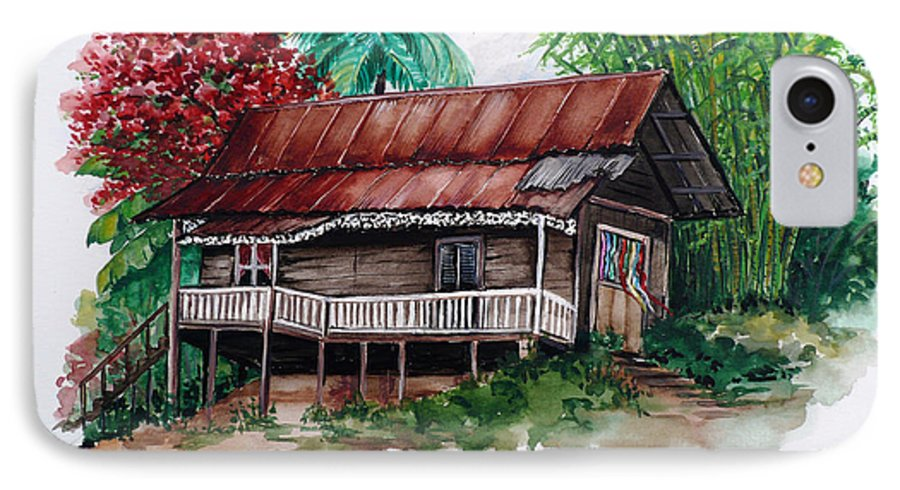Tropical Painting Poincianna Painting Caribbean Painting Old House Painting Cocoa House Painting Trinidad And Tobago Painting  Tropical Painting Flamboyant Painting Poinciana Red Greeting Card Painting IPhone 7 Case featuring the painting The Old Cocoa House by Karin Dawn Kelshall- Best