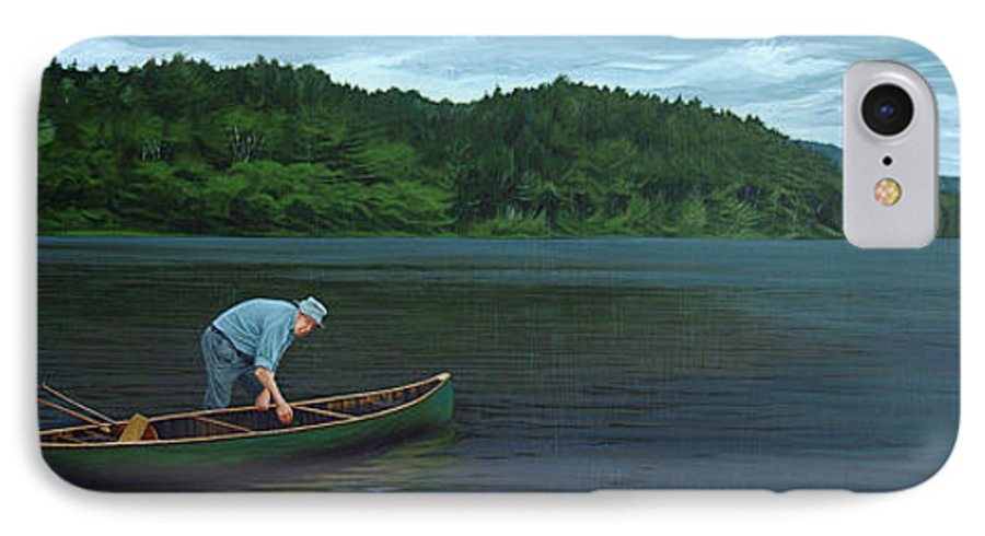 Landscape IPhone 7 Case featuring the painting The Old Green Canoe by Jan Lyons