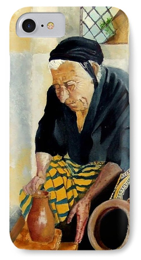 Old People IPhone 7 Case featuring the painting The Old Potter by Jane Simpson