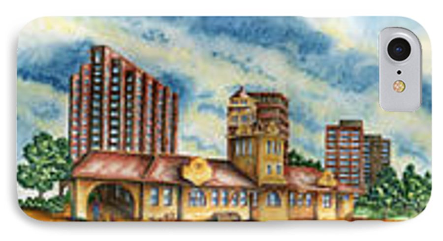 Cityscape IPhone 7 Case featuring the painting The Old Train Station  by Ragon Steele