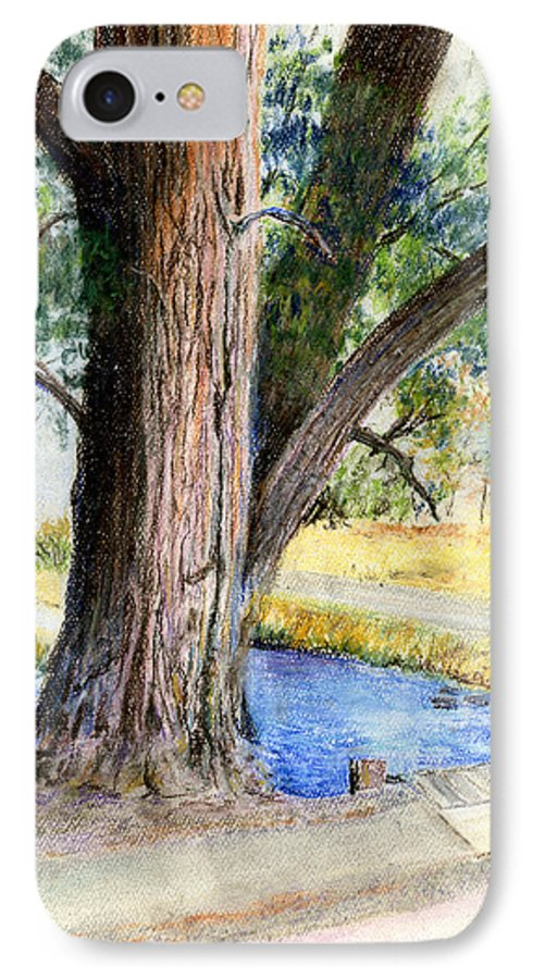 Tree IPhone 7 Case featuring the pastel The Old Tree by Arline Wagner