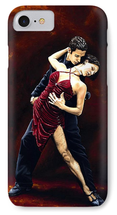 Tango IPhone 7 Case featuring the painting The Passion Of Tango by Richard Young