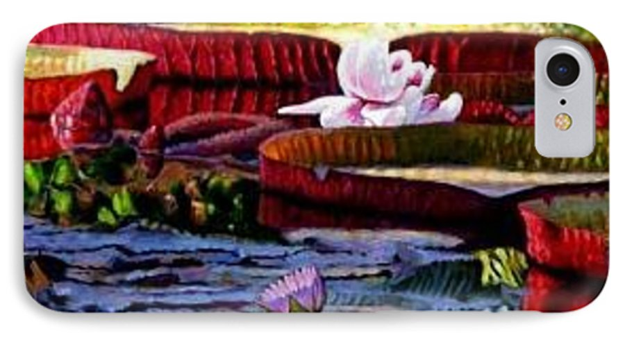 Shadows And Sunlight Across Water Lilies. IPhone 7 Case featuring the painting The Patterns Of Beauty by John Lautermilch
