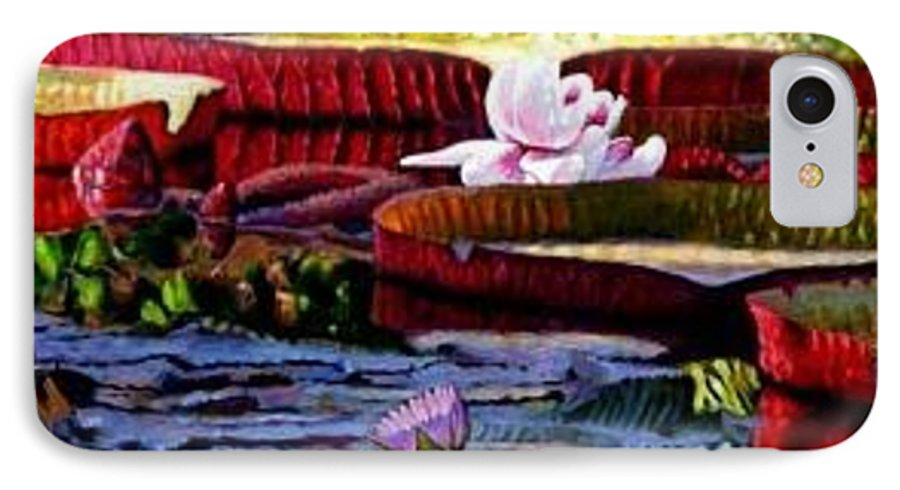 Shadows And Sunlight Across Water Lilies. IPhone Case featuring the painting The Patterns Of Beauty by John Lautermilch