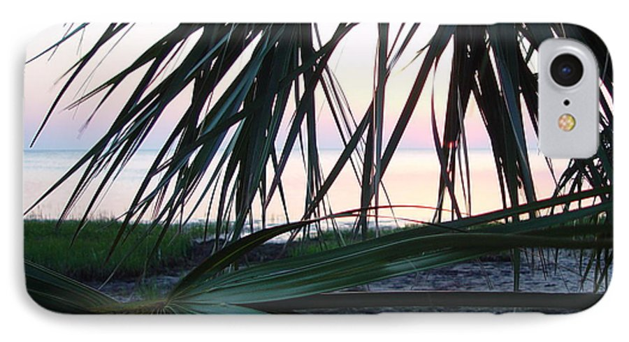 Palms IPhone 7 Case featuring the painting The Peeking Palms by Debbie May