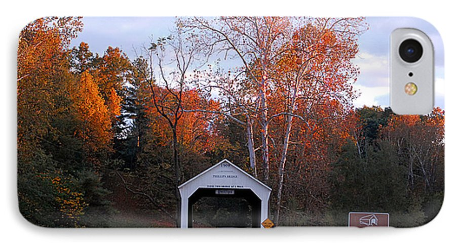 Landscape IPhone 7 Case featuring the photograph The Phillips Covered Bridge by John McAllister