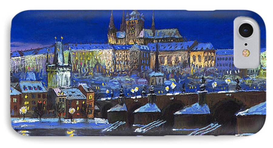 Prague IPhone 7 Case featuring the painting The Prague Panorama by Yuriy Shevchuk