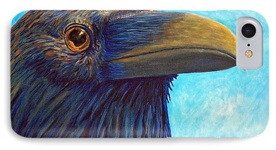 Raven IPhone 7 Case featuring the painting The Prophet by Brian Commerford