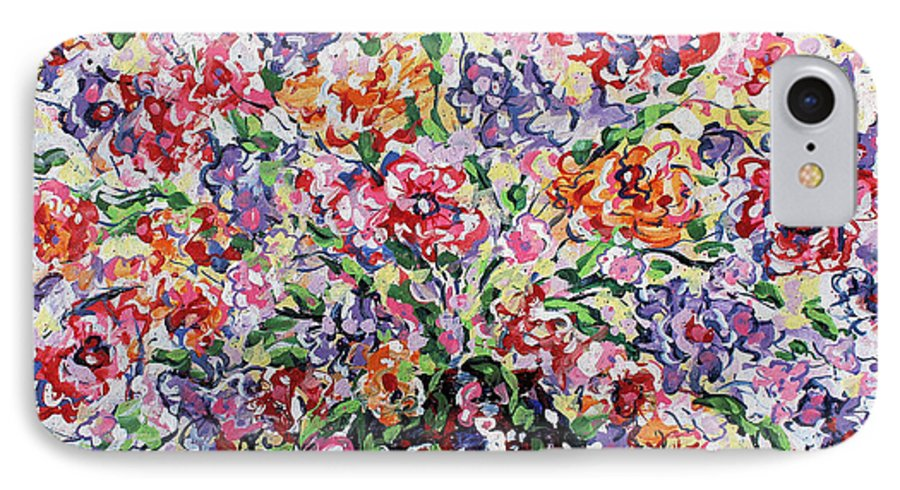 Flowers IPhone 7 Case featuring the painting The Rainbow Flowers by Leonard Holland