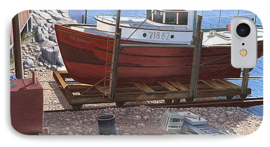 Fishing Boat IPhone 7 Case featuring the painting The Red Troller by Gary Giacomelli