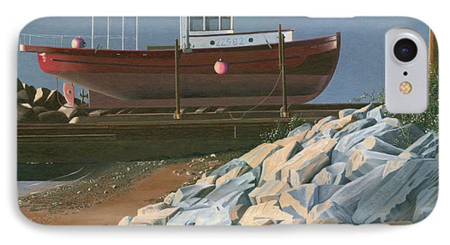 Ship IPhone 7 Case featuring the painting The Red Troller Revisited by Gary Giacomelli