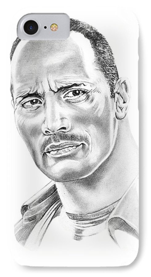 Pencil IPhone 7 Case featuring the drawing The Roc  Dwain Johnson by Murphy Elliott