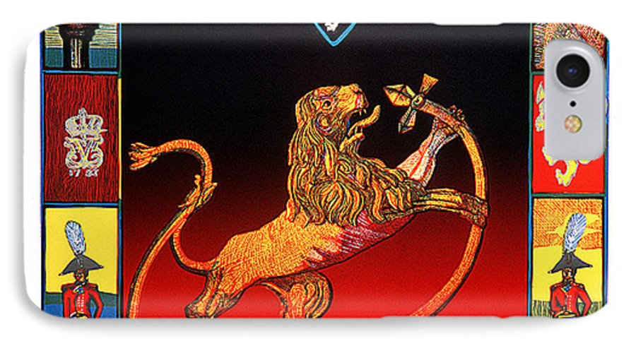 Historic IPhone 7 Case featuring the mixed media The Royal Norwegian Lion by Jarle Rosseland