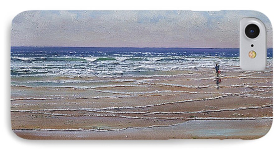 Seascape IPhone 7 Case featuring the painting The Shell Collector by Frank Wilson