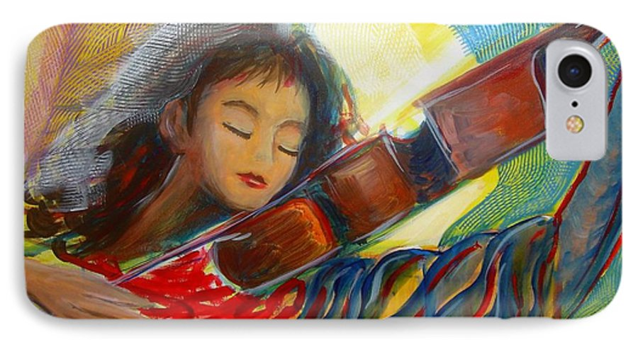 Violin IPhone 7 Case featuring the painting The Sweetest Sounds by Regina Walsh