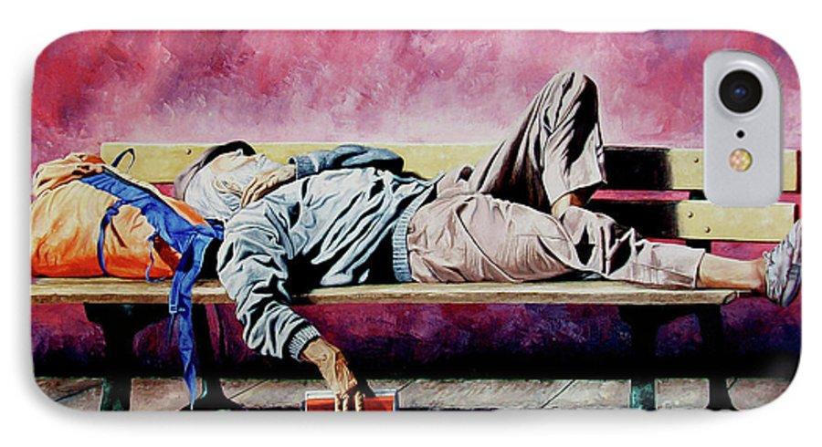 Figurative IPhone 7 Case featuring the painting The Traveler 1 - El Viajero 1 by Rezzan Erguvan-Onal