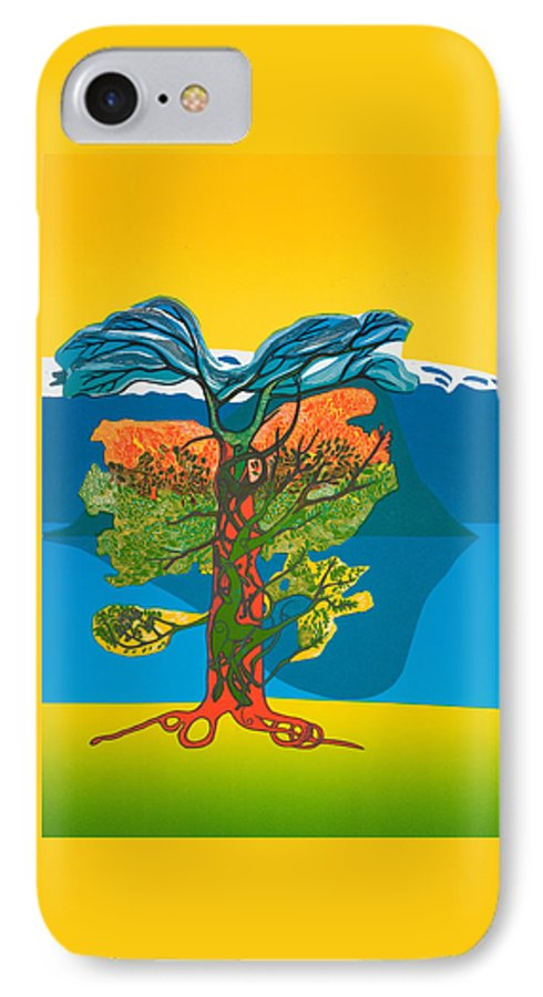 Landscape IPhone 7 Case featuring the mixed media The Tree Of Life. From The Viking Saga. by Jarle Rosseland
