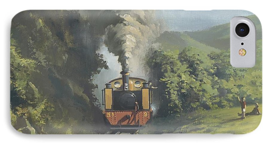 Steam IPhone 7 Case featuring the painting The Vale Of Rheidol Railway by Richard Picton