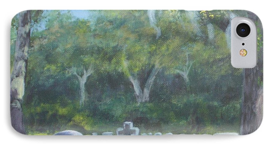 Landscape Cemetary Ghost Tree Florida Orlando Greenwood IPhone 7 Case featuring the painting The Visitor 75usd by Karen Bowden