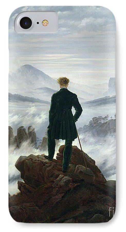 The IPhone 7 Case featuring the painting The Wanderer Above The Sea Of Fog by Caspar David Friedrich