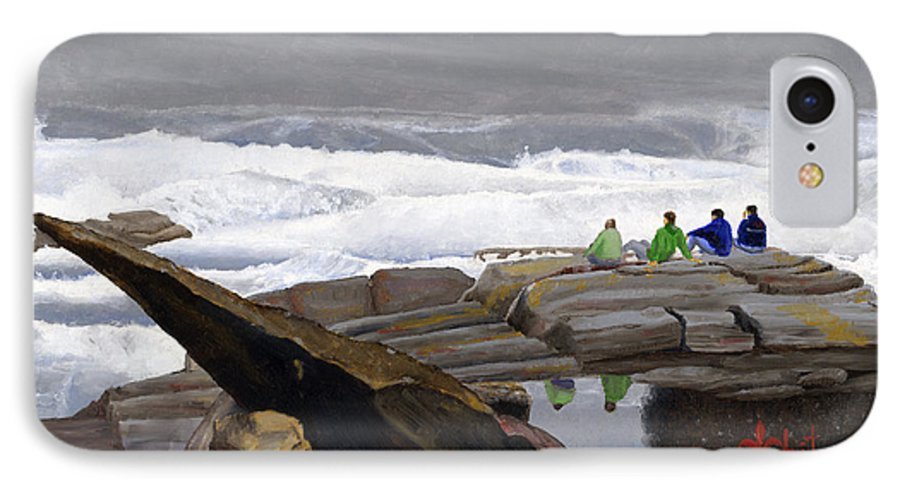 Waves IPhone 7 Case featuring the painting The Wave Watchers by Dominic White