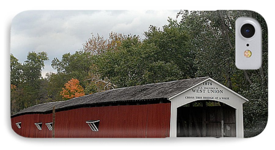 Landscape IPhone 7 Case featuring the photograph The West Union Covered Bridge by John McAllister