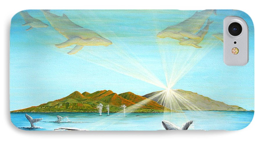 Whales IPhone 7 Case featuring the painting The Whales Of Maui by Jerome Stumphauzer