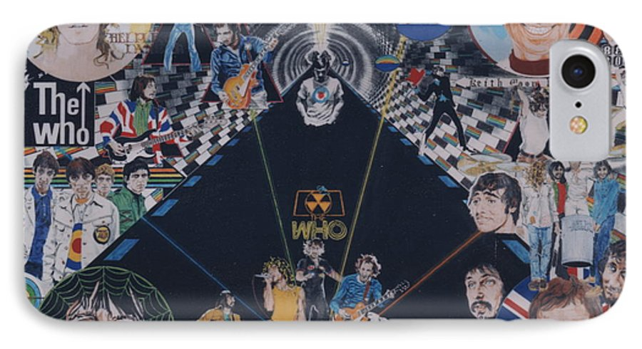 Pete Townshend;roger Daltrey;john Entwistle;keith Moon;quadrophenia;opera;story;four;music;guitars;lasers;mods;rockers;london;brighton;1964 IPhone 7 Case featuring the drawing The Who - Quadrophenia by Sean Connolly