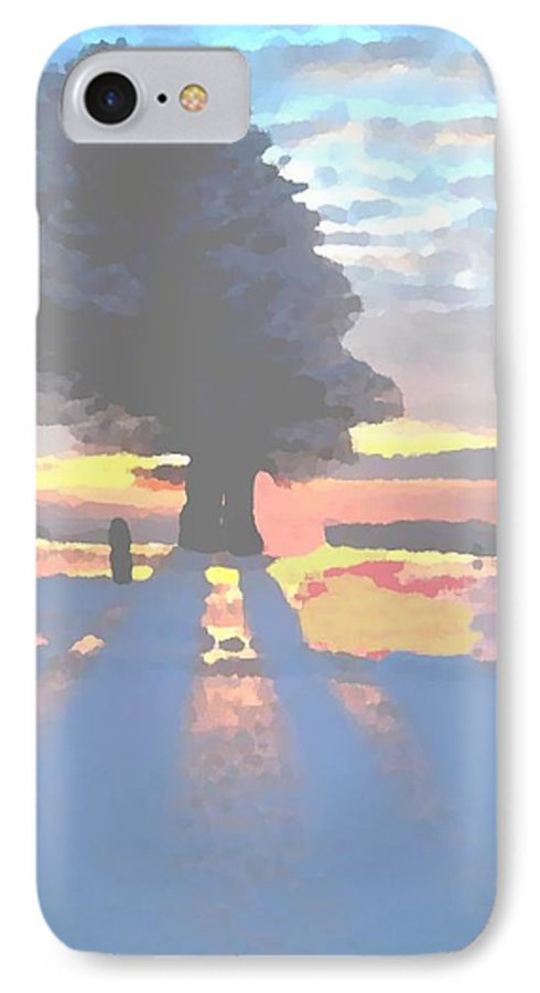 Sky.clouds.winter.sunset.snow.shadow.sunrays.evening Light.tree.far Forest. IPhone 7 Case featuring the digital art The Winter Lonely Tree by Dr Loifer Vladimir