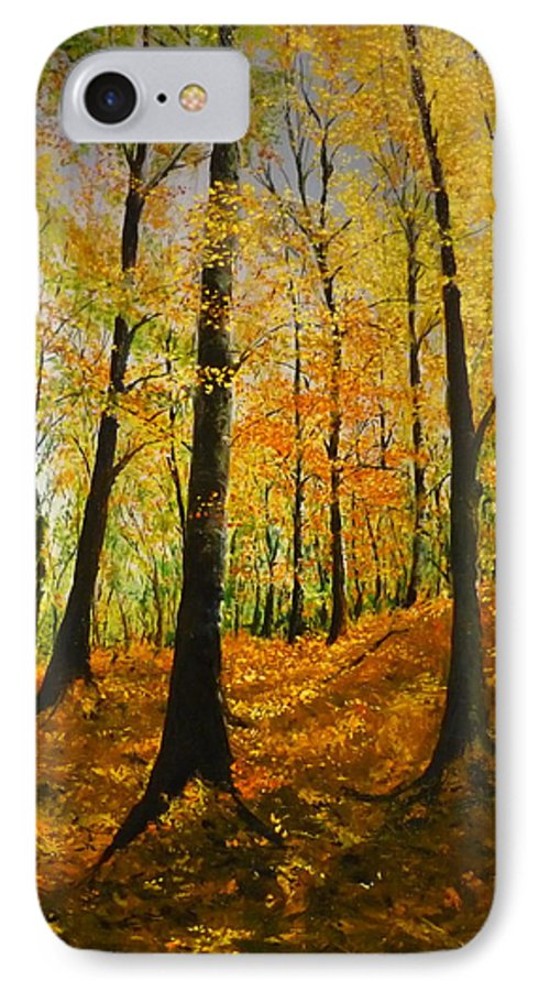 Fall IPhone 7 Case featuring the painting The Wood For The Trees by Lizzy Forrester