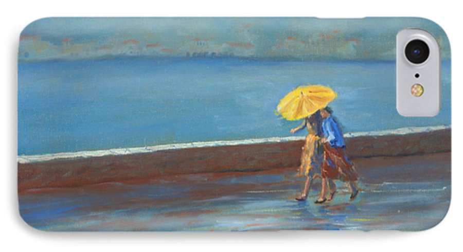 Rain IPhone 7 Case featuring the painting The Yellow Umbrella by Jerry McElroy