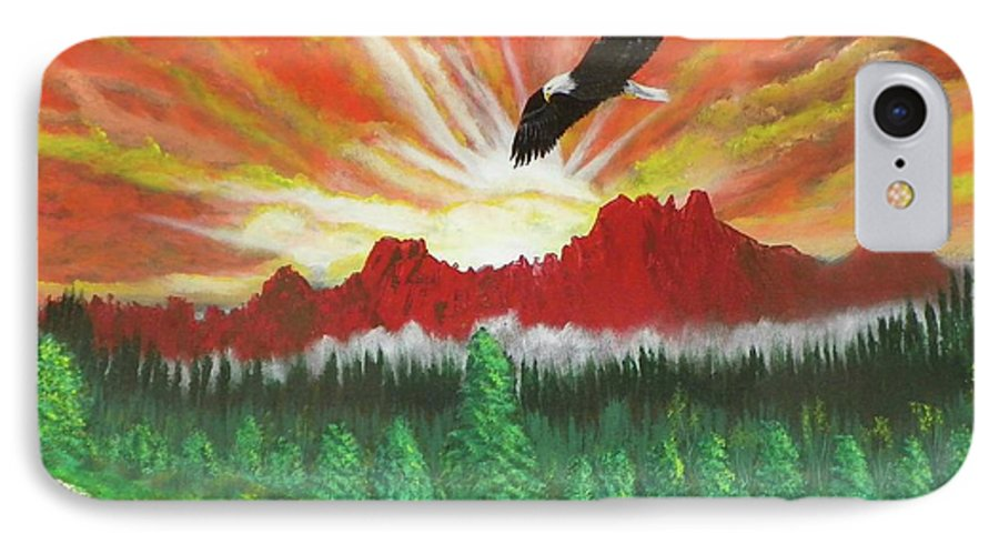 Acrylic IPhone 7 Case featuring the painting They That Wait Upon The Lord  Isa 40 31 by Laurie Kidd