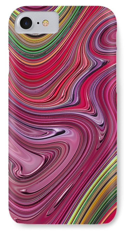 Colorful IPhone 7 Case featuring the digital art Thick Paint Abstract by Melissa A Benson