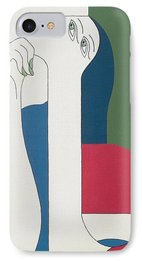 Modern Special Women Bleu Red Green IPhone 7 Case featuring the painting Thinking by Hildegarde Handsaeme