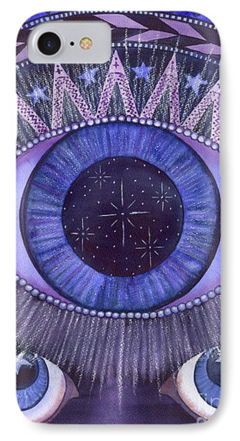 Thrid Eye IPhone 7 Case featuring the painting Third Eye Chakra by Catherine G McElroy