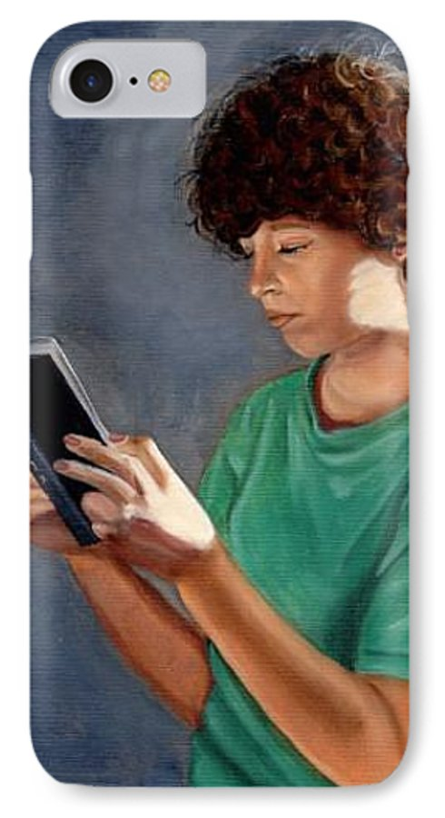 Portrait IPhone 7 Case featuring the painting Thirst For Knowledge by Toni Berry