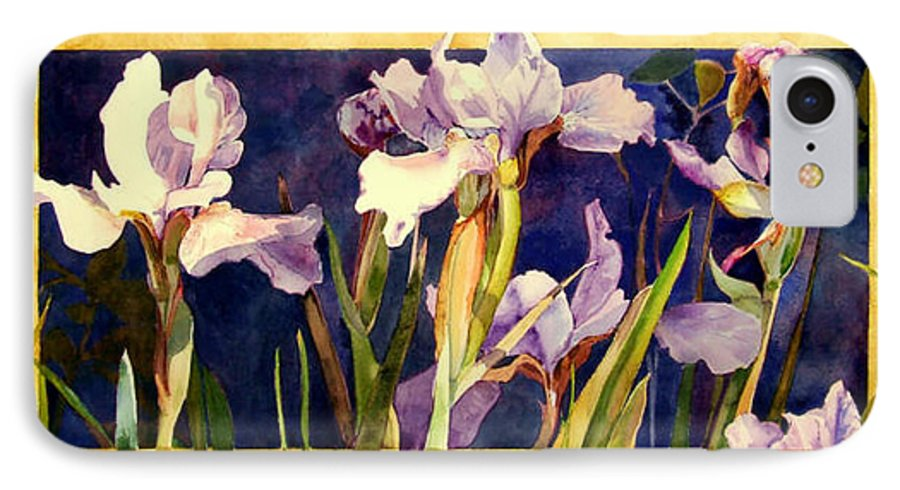 Irises IPhone 7 Case featuring the painting Three Gossips by Linda Marie Carroll