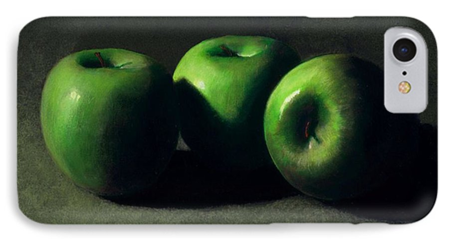 Still Life IPhone 7 Case featuring the painting Three Green Apples by Frank Wilson