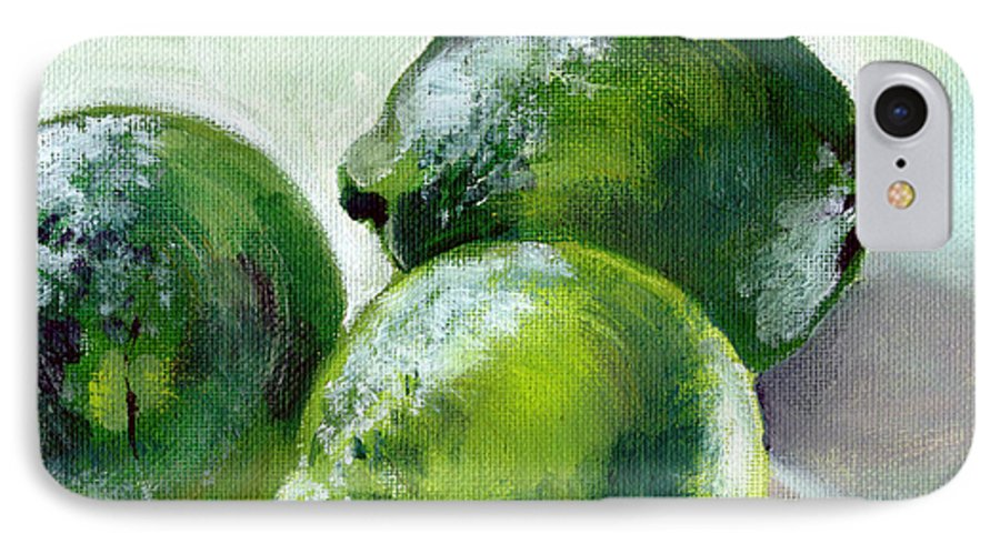 Food IPhone 7 Case featuring the painting Three Limes by Sarah Lynch