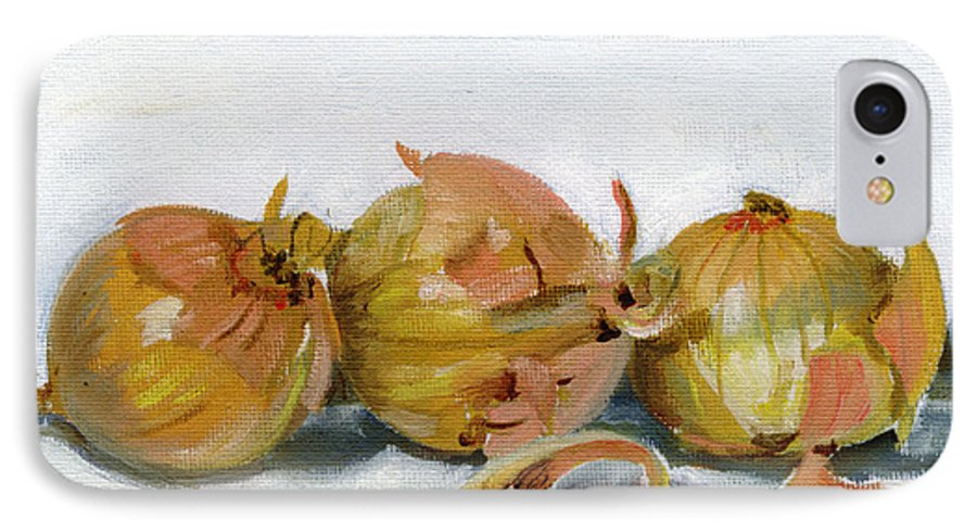 Food IPhone 7 Case featuring the painting Three Onions by Sarah Lynch