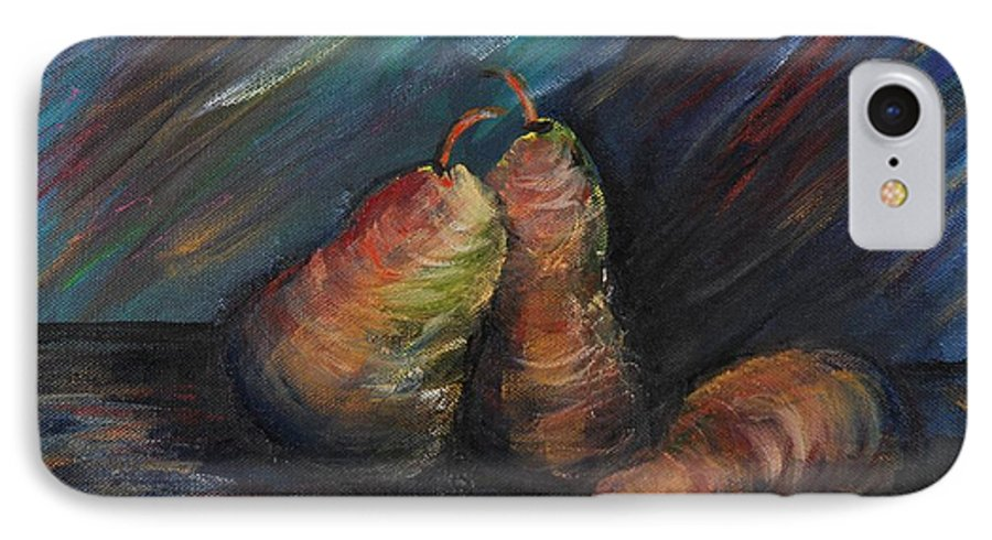 Pears Fruit Stilllife Blue Red Gold Orange IPhone 7 Case featuring the painting Three Pears by Nadine Rippelmeyer