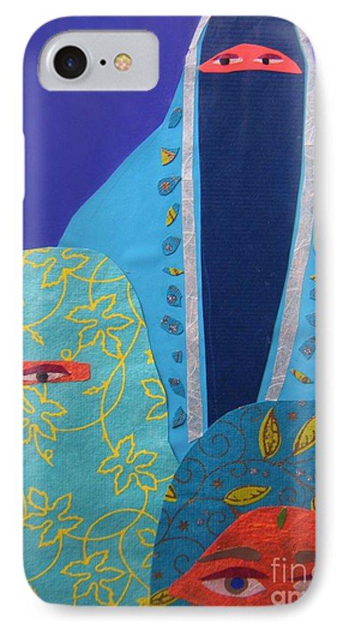Women IPhone 7 Case featuring the painting Three Women In Burkhas by Debra Bretton Robinson