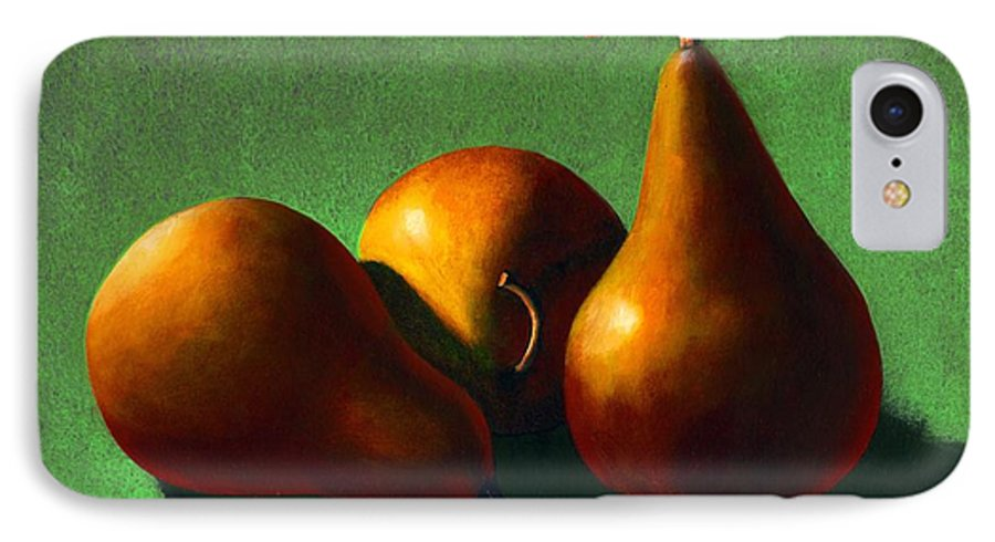 Still Life IPhone 7 Case featuring the painting Three Yellow Pears by Frank Wilson