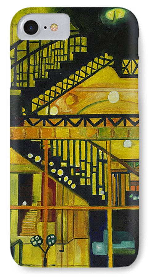 Abstract IPhone 7 Case featuring the painting Through Parisian Glass by Patricia Arroyo