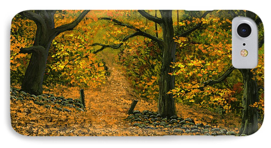 Landscape IPhone 7 Case featuring the painting Through The Fallen Leaves by Frank Wilson