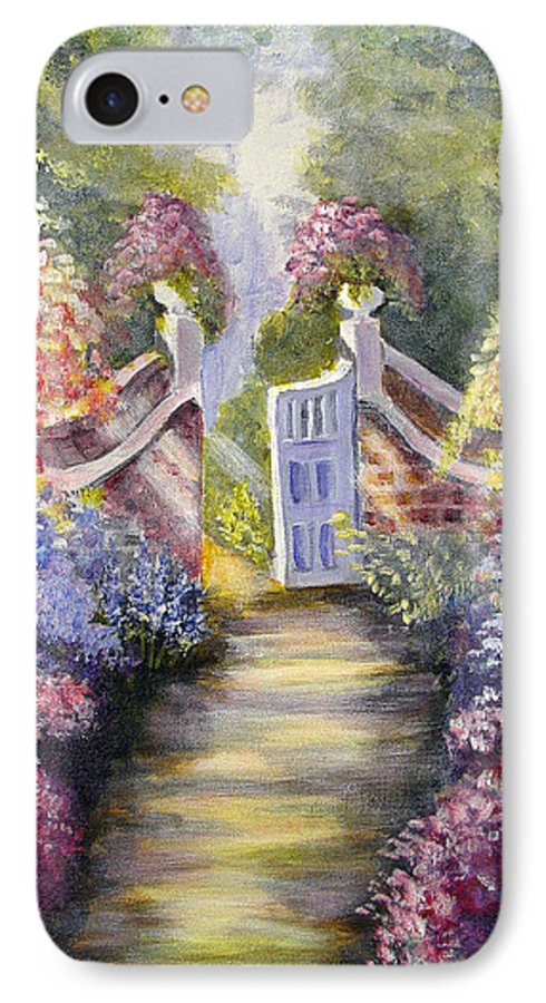 Flowers IPhone 7 Case featuring the painting Through The Garden Gate by Quwatha Valentine