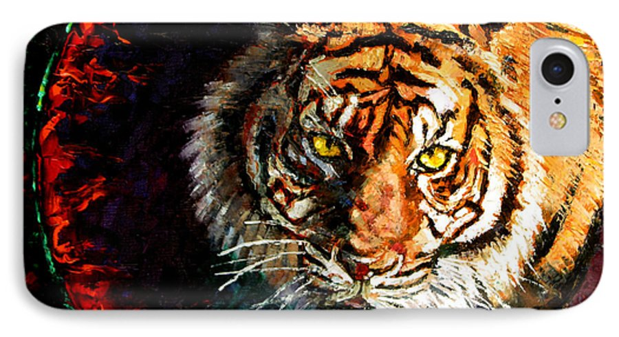 Tiger IPhone 7 Case featuring the painting Through The Ring Of Fire by John Lautermilch