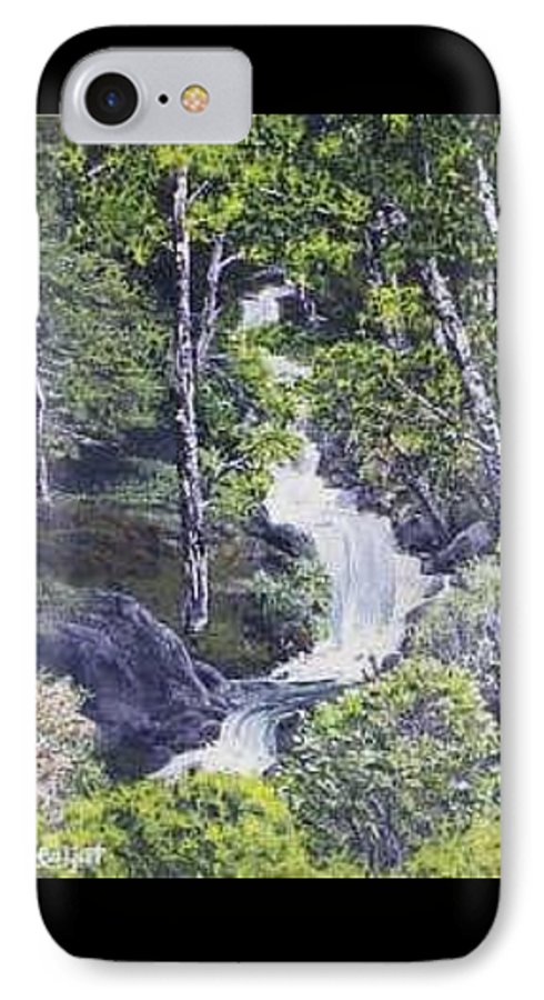 This Is A Lovely Waterfall We Saw On The Way Back Home From Mount Hood Oregon. IPhone 7 Case featuring the painting Through The Woods by Darla Boljat