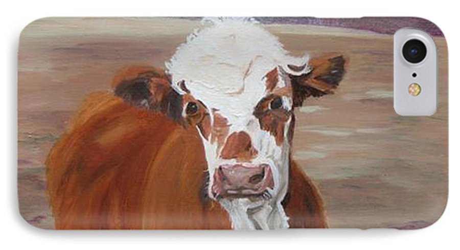 Cow Calf Farmscene IPhone 7 Case featuring the painting Tiffany by Paula Emery